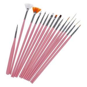 Nail Art Acrylic UV Gel Design Brush Set Painting Pen Tips Tools Kit 15Pcs